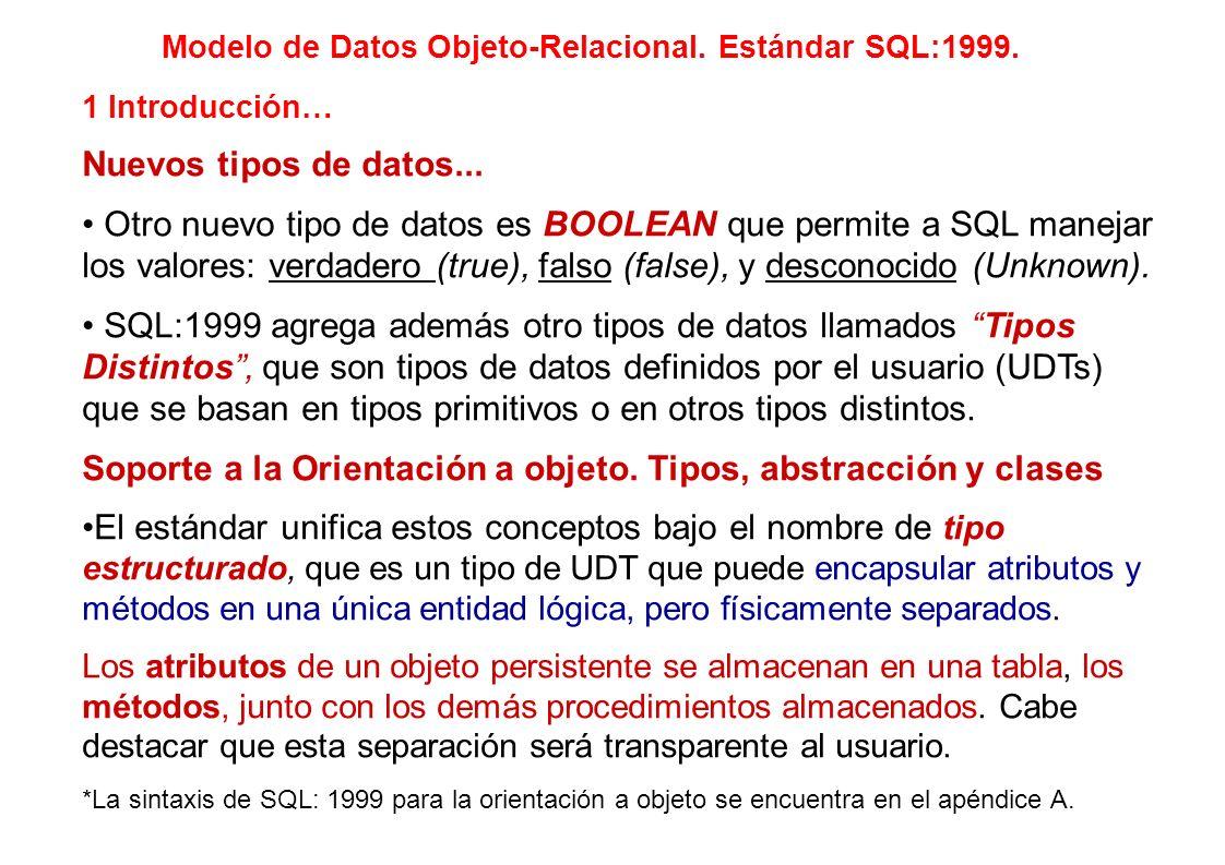 1 Introducción… Nuevos tipos de datos... Otro nuevo tipo de datos es BOOLEAN que permite a SQL manejar los valores: verdadero (true), falso (false), y