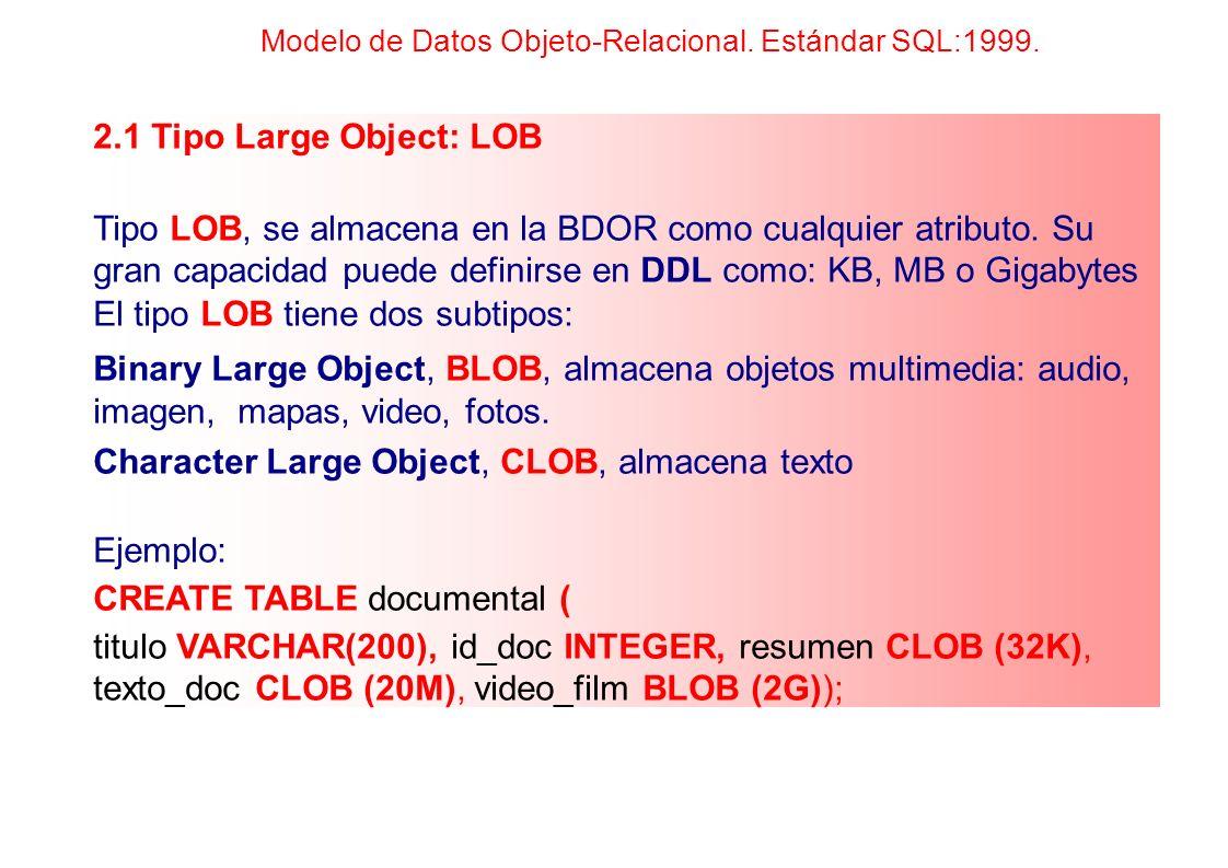 2.1 Tipo Large Object: LOB Tipo LOB, se almacena en la BDOR como cualquier atributo. Su gran capacidad puede definirse en DDL como: KB, MB o Gigabytes