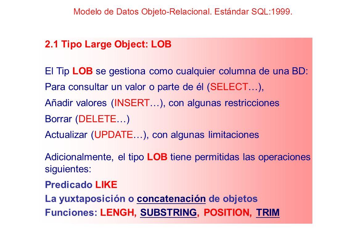 2.1 Tipo Large Object: LOB El Tip LOB se gestiona como cualquier columna de una BD: Para consultar un valor o parte de él (SELECT…), Añadir valores (I