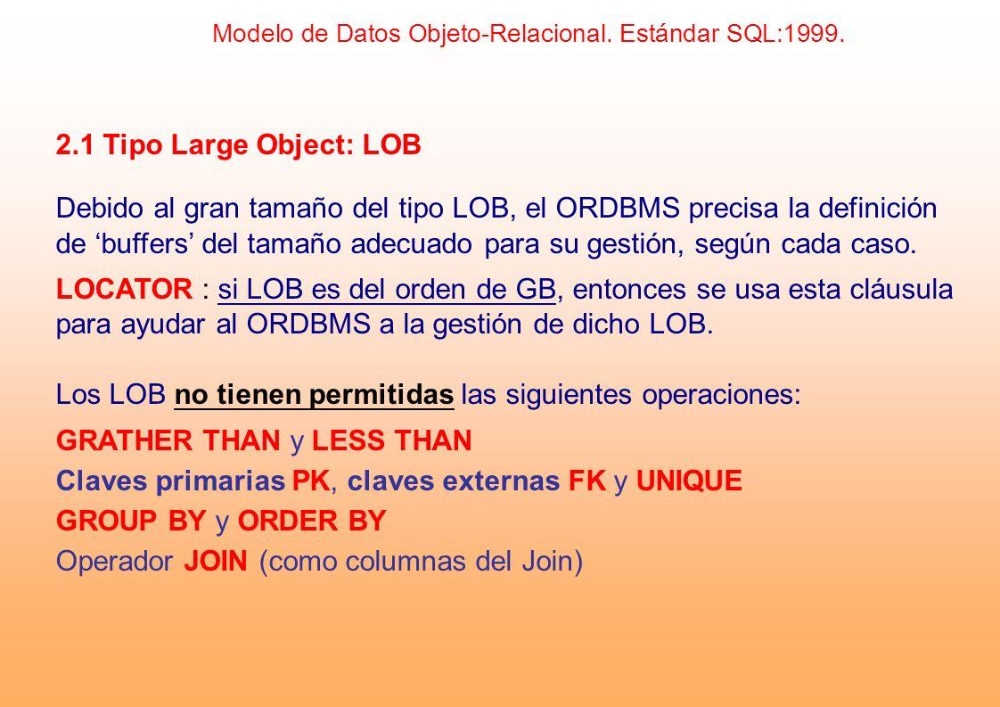 2.1 Tipo Large Object: LOB Debido al gran tamaño del tipo LOB, el ORDBMS precisa la definición de buffers del tamaño adecuado para su gestión, según c