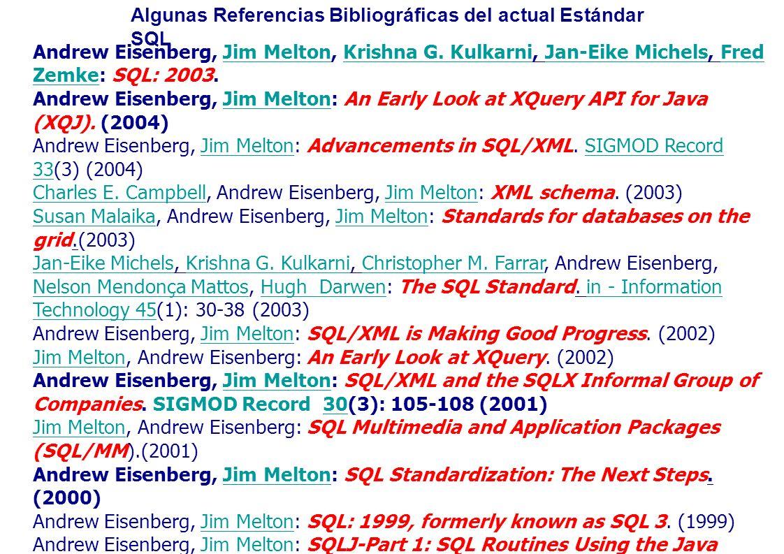 Algunas Referencias Bibliográficas del actual Estándar SQL Andrew Eisenberg, Jim Melton, Krishna G. Kulkarni, Jan-Eike Michels, Fred Zemke: SQL: 2003.