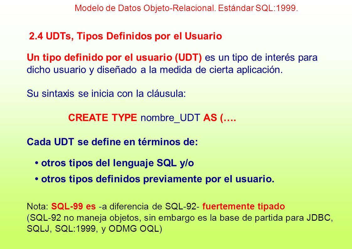 2.4 UDTs, Tipos Definidos por el Usuario Un tipo definido por el usuario (UDT) es un tipo de interés para dicho usuario y diseñado a la medida de cier