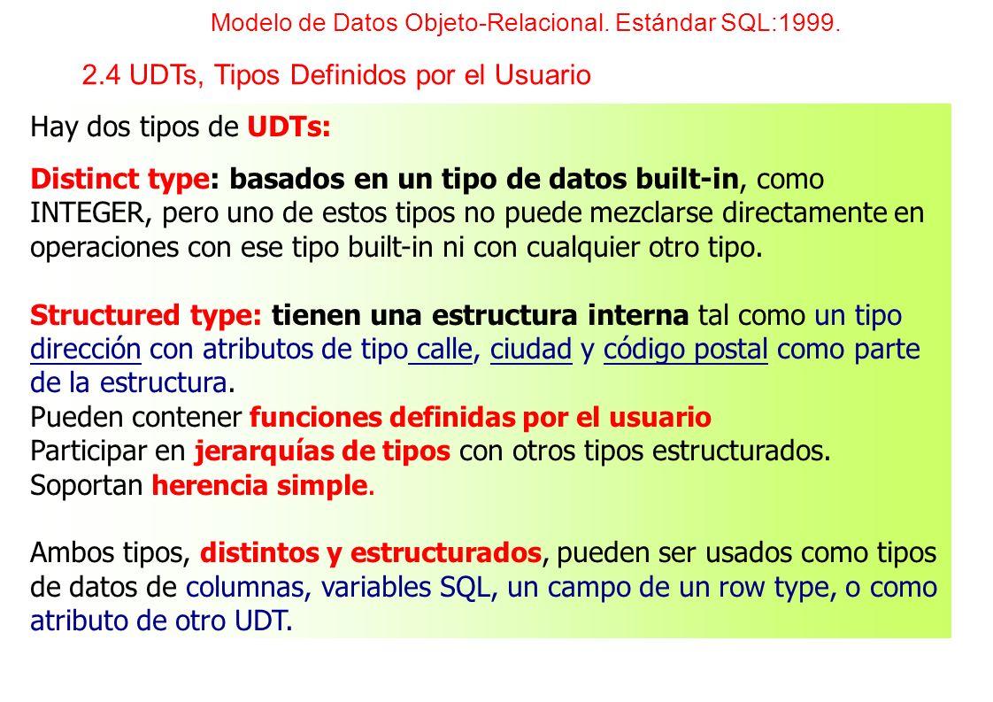 Hay dos tipos de UDTs: Distinct type: basados en un tipo de datos built-in, como INTEGER, pero uno de estos tipos no puede mezclarse directamente en o