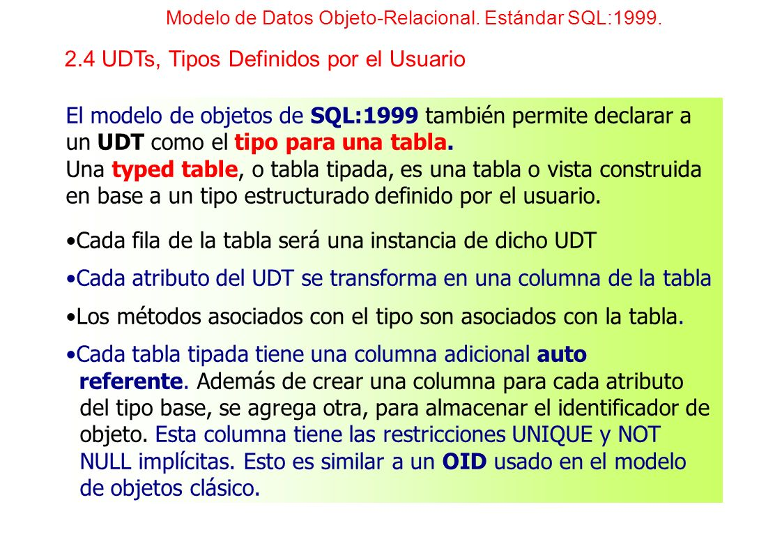 El modelo de objetos de SQL:1999 también permite declarar a un UDT como el tipo para una tabla. Una typed table, o tabla tipada, es una tabla o vista
