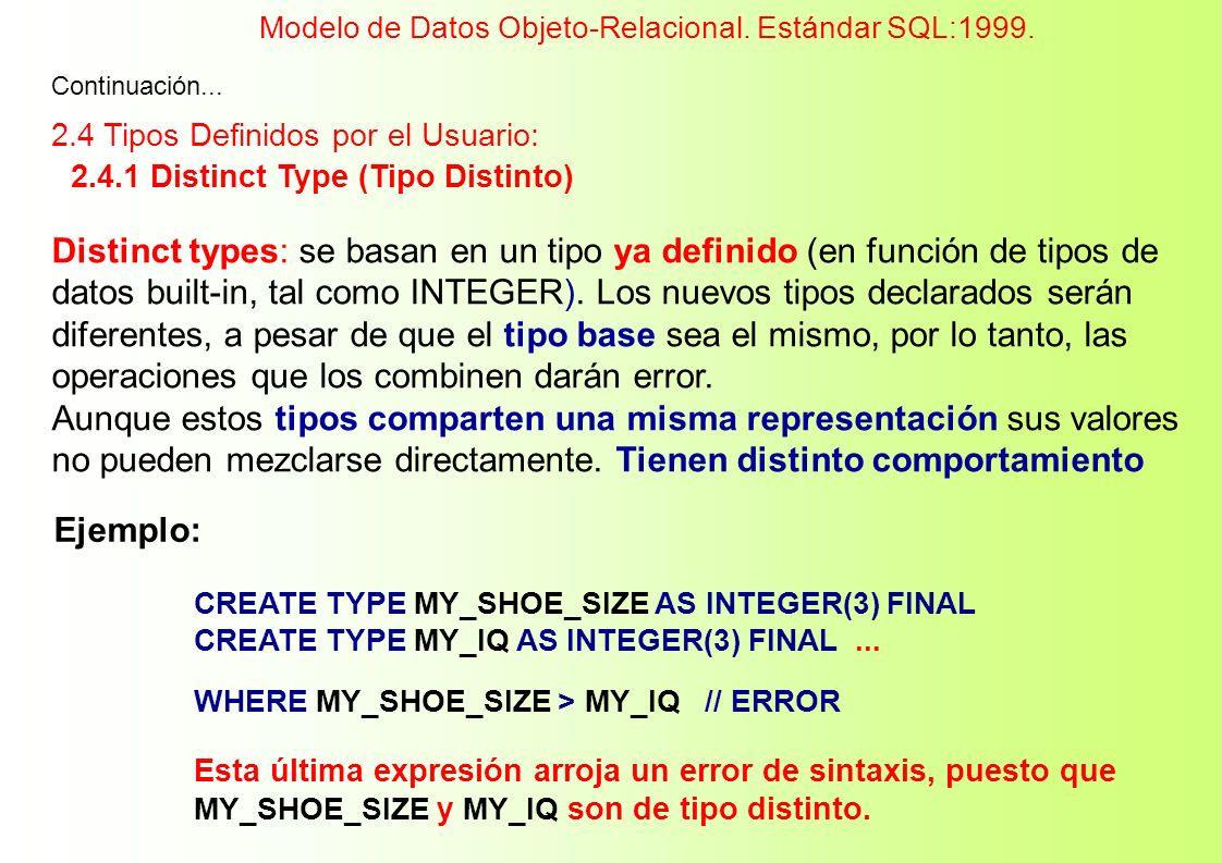 Continuación... 2.4 Tipos Definidos por el Usuario: 2.4.1 Distinct Type (Tipo Distinto) Distinct types: se basan en un tipo ya definido (en función de