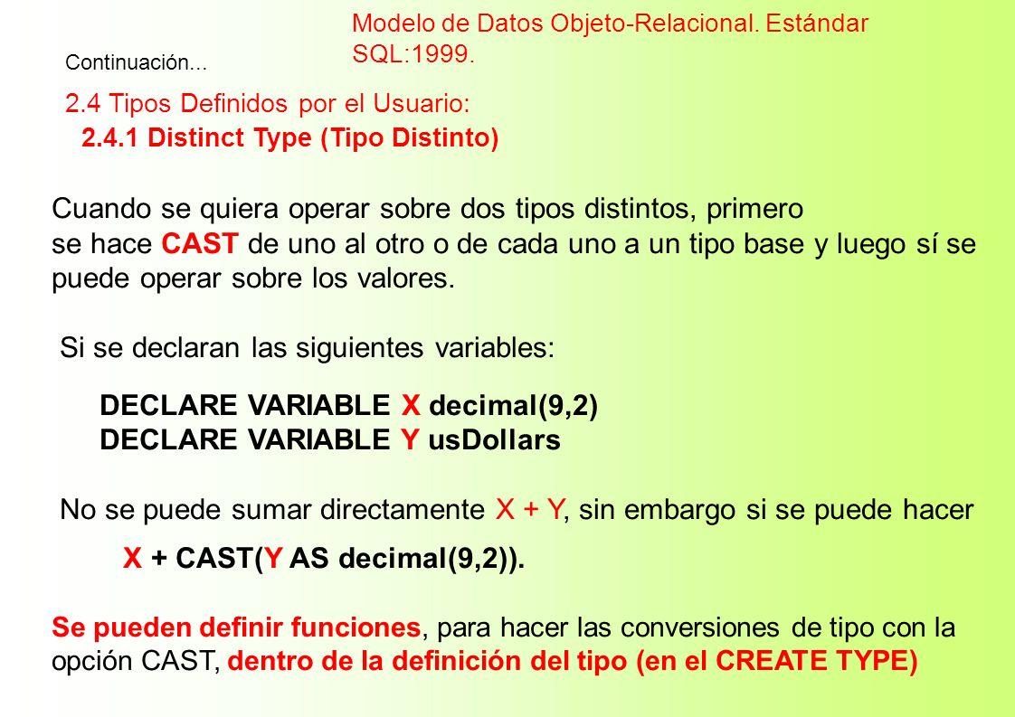Cuando se quiera operar sobre dos tipos distintos, primero se hace CAST de uno al otro o de cada uno a un tipo base y luego sí se puede operar sobre l