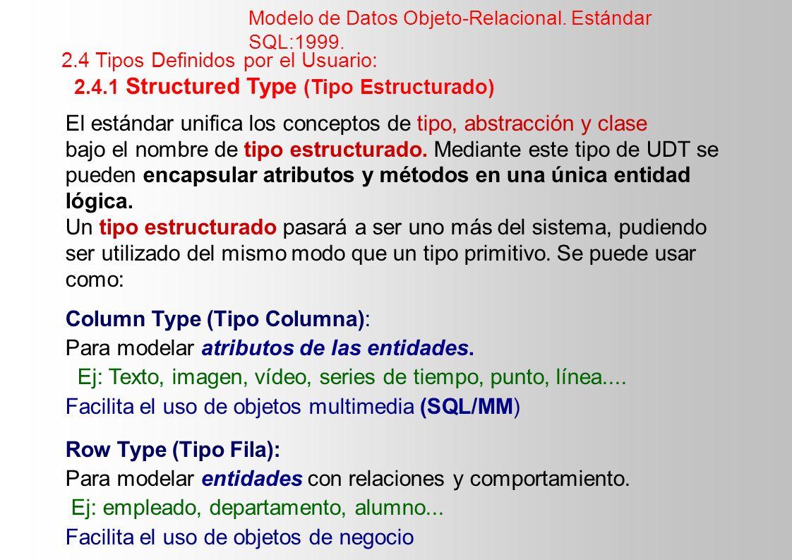 El estándar unifica los conceptos de tipo, abstracción y clase bajo el nombre de tipo estructurado. Mediante este tipo de UDT se pueden encapsular atr