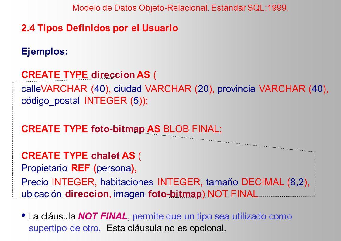 2.4 Tipos Definidos por el Usuario Ejemplos: CREATE TYPE direccion AS ( calleVARCHAR (40), ciudad VARCHAR (20), provincia VARCHAR (40), código_postal