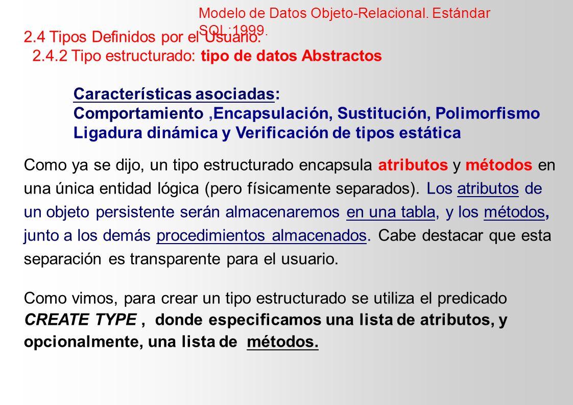 2.4 Tipos Definidos por el Usuario: 2.4.2 Tipo estructurado: tipo de datos Abstractos Características asociadas: Comportamiento,Encapsulación, Sustitu