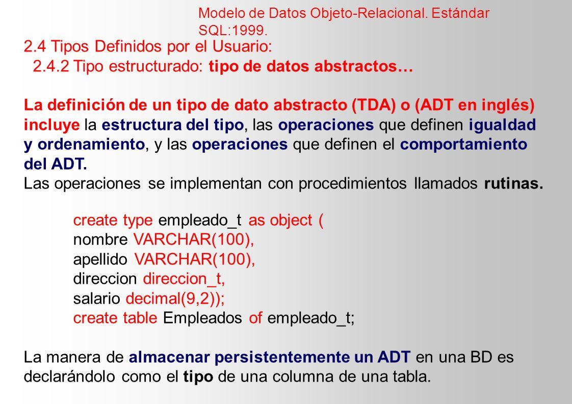 2.4 Tipos Definidos por el Usuario: 2.4.2 Tipo estructurado: tipo de datos abstractos… La definición de un tipo de dato abstracto (TDA) o (ADT en ingl