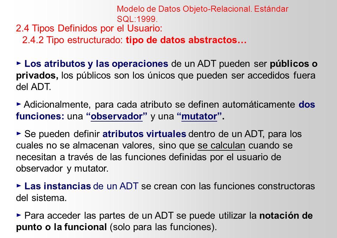 2.4 Tipos Definidos por el Usuario: 2.4.2 Tipo estructurado: tipo de datos abstractos… Los atributos y las operaciones de un ADT pueden ser públicos o