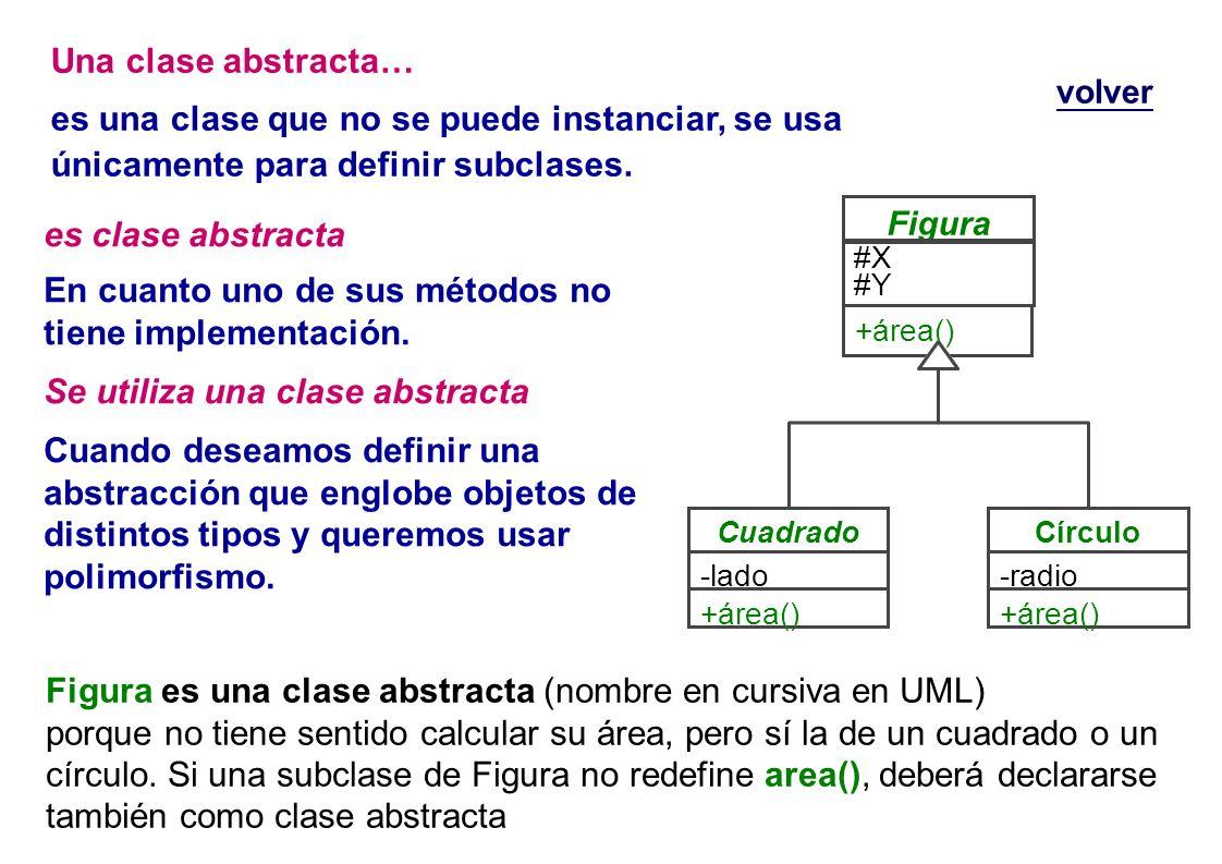es clase abstracta En cuanto uno de sus métodos no tiene implementación. Se utiliza una clase abstracta Cuando deseamos definir una abstracción que en