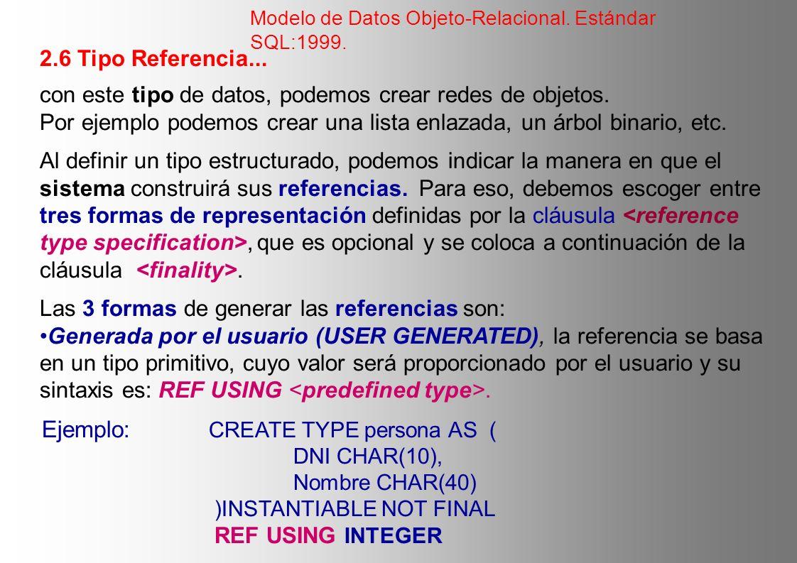 2.6 Tipo Referencia... con este tipo de datos, podemos crear redes de objetos. Por ejemplo podemos crear una lista enlazada, un árbol binario, etc. Al