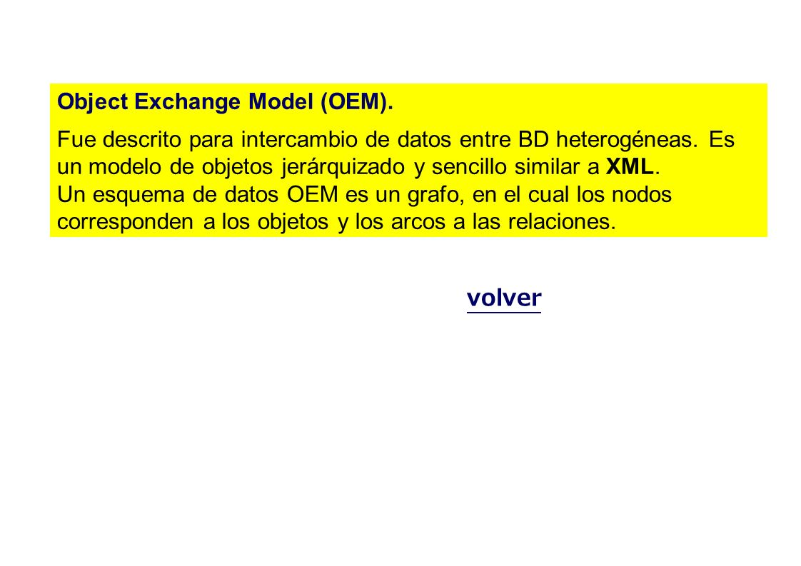 Object Exchange Model (OEM). Fue descrito para intercambio de datos entre BD heterogéneas. Es un modelo de objetos jerárquizado y sencillo similar a X