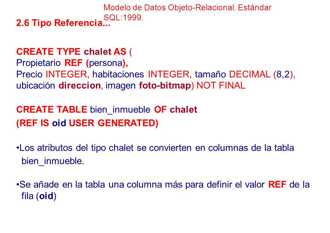 2.6 Tipo Referencia... CREATE TYPE chalet AS ( Propietario REF (persona), Precio INTEGER, habitaciones INTEGER, tamaño DECIMAL (8,2), ubicación direcc