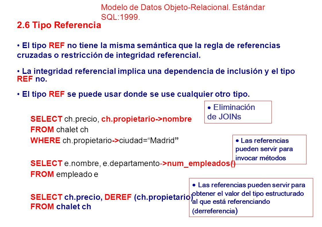 2.6 Tipo Referencia El tipo REF no tiene la misma semántica que la regla de referencias cruzadas o restricción de integridad referencial. La integrida