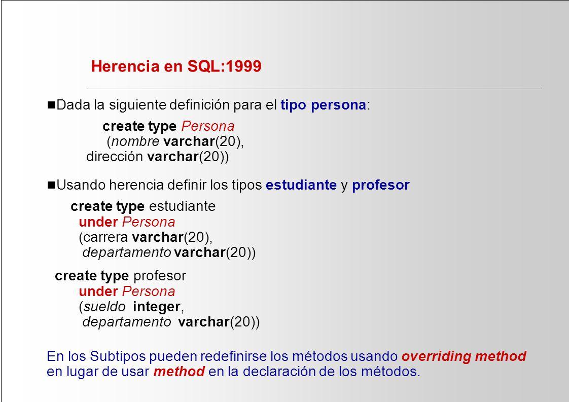 Herencia en SQL:1999 n Dada la siguiente definición para el tipo persona: create type Persona (nombre varchar(20), dirección varchar(20)) n Usando her