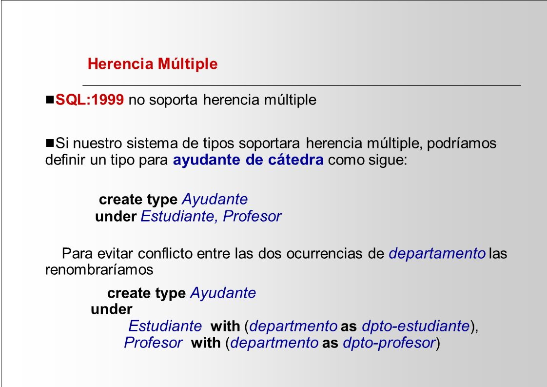 Herencia Múltiple n SQL:1999 no soporta herencia múltiple n Si nuestro sistema de tipos soportara herencia múltiple, podríamos definir un tipo para ayudante de cátedra como sigue: create type Ayudante under Estudiante, Profesor Para evitar conflicto entre las dos ocurrencias de departamento las renombraríamos create type Ayudante under Estudiante with ( departmento as dpto-estudiante ), Profesor with ( departmento as dpto-profesor )
