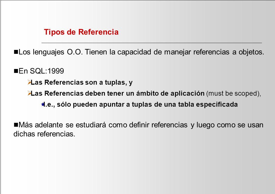 Tipos de Referencia Los lenguajes O.O. Tienen la capacidad de manejar referencias a objetos. En SQL:1999 Las Referencias son a tuplas, y Las Referenci