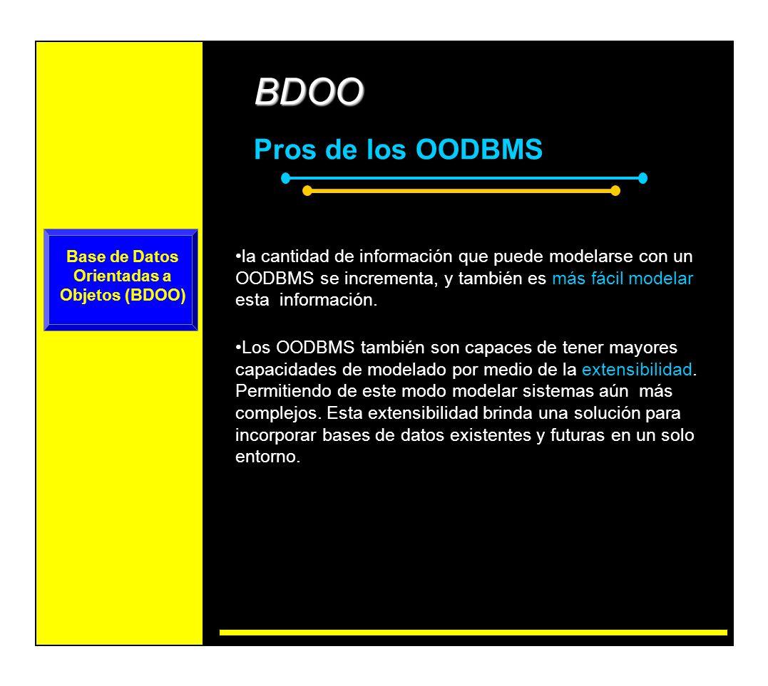 BDOO Pros de los OODBMS Además de ventajas de modelado, un OODBMS también tienen ventajas de sistema.