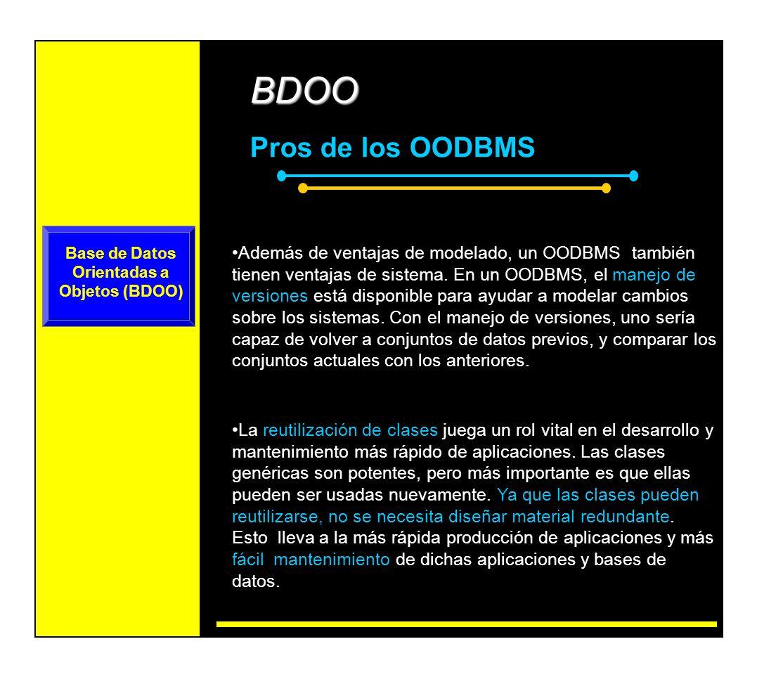 BDOO Contras de los OODBMS - Bajo impacto en el mercado de las BDOO.