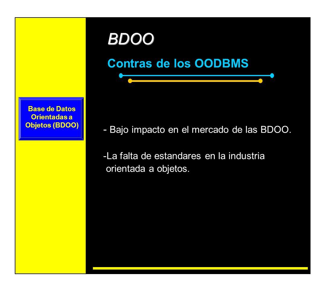 Base de Datos Objeto-Relacional (BDOR) BDOR: ventajas extendidas M odelo compatible con el Modelo Relacional.