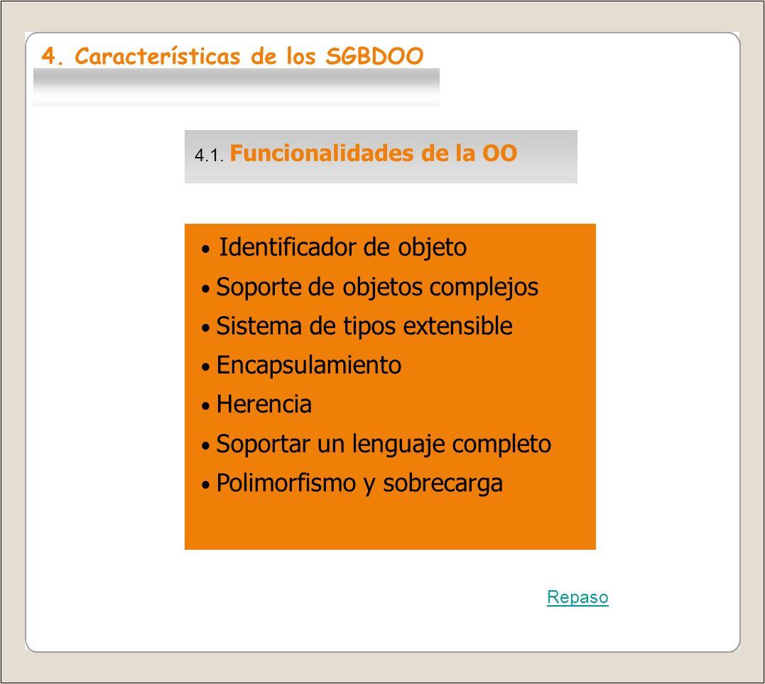 4.1. Funcionalidades de la OO Identificador de objeto Soporte de objetos complejos Sistema de tipos extensible Encapsulamiento Herencia Soportar un le