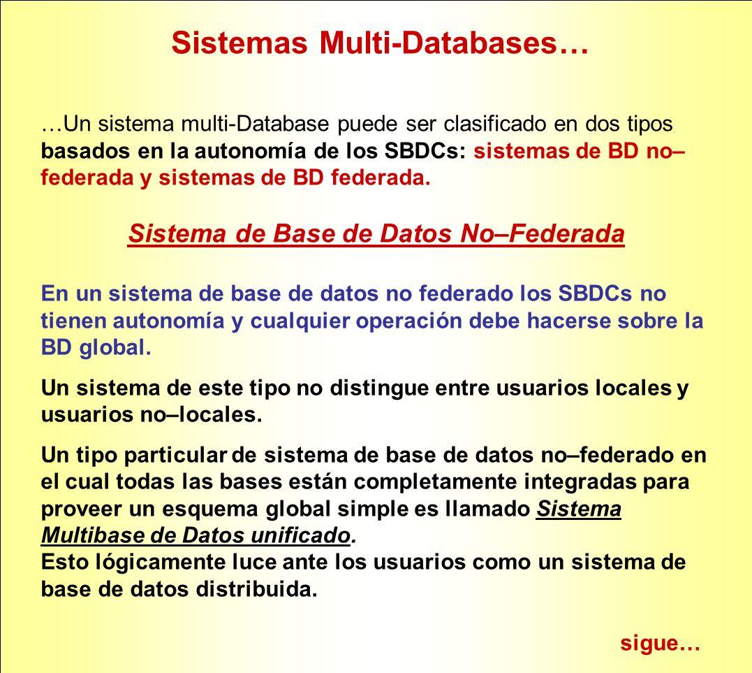 Sistemas Multi-Databases… Sistema de Base de Datos Federada Un sistema de base de datos federada (SBDF) está compuesto por SBDCs que son autónomos e integran una federación para permitir la compartición parcial y controlada de sus datos.