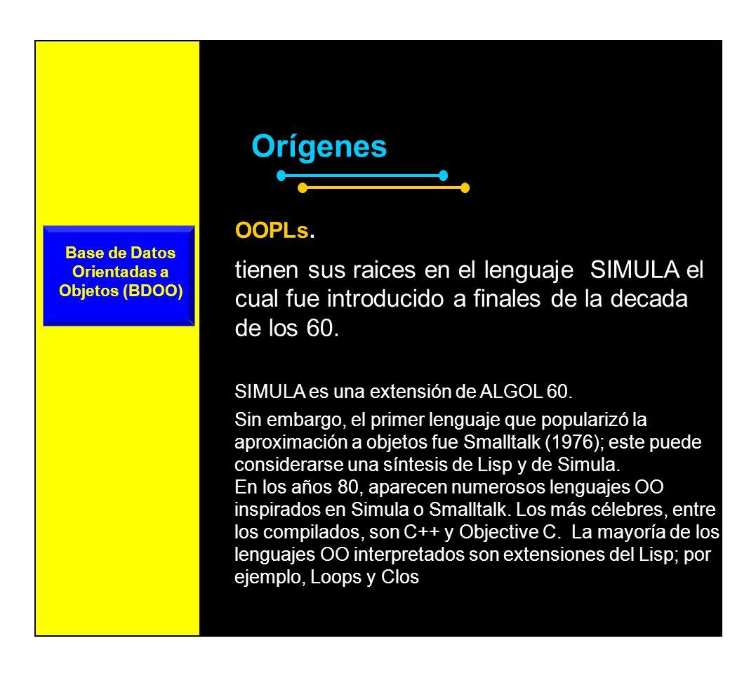 OrígenesBDOO Base de Datos Orientadas a Objetos (BDOO) El concepto de O.O.