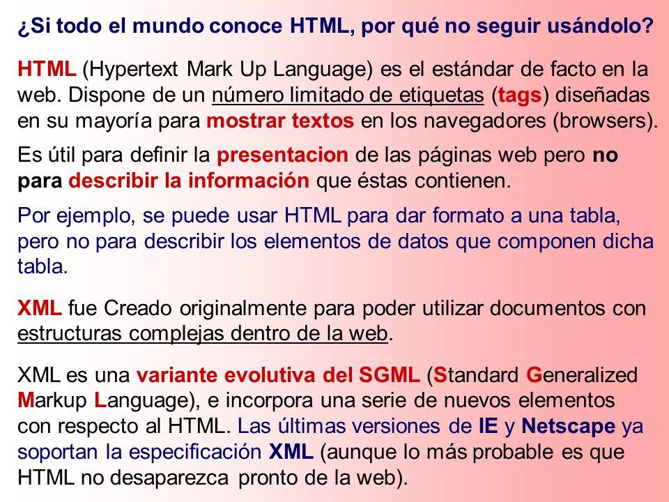 ¿Si todo el mundo conoce HTML, por qué no seguir usándolo? HTML (Hypertext Mark Up Language) es el estándar de facto en la web. Dispone de un número l