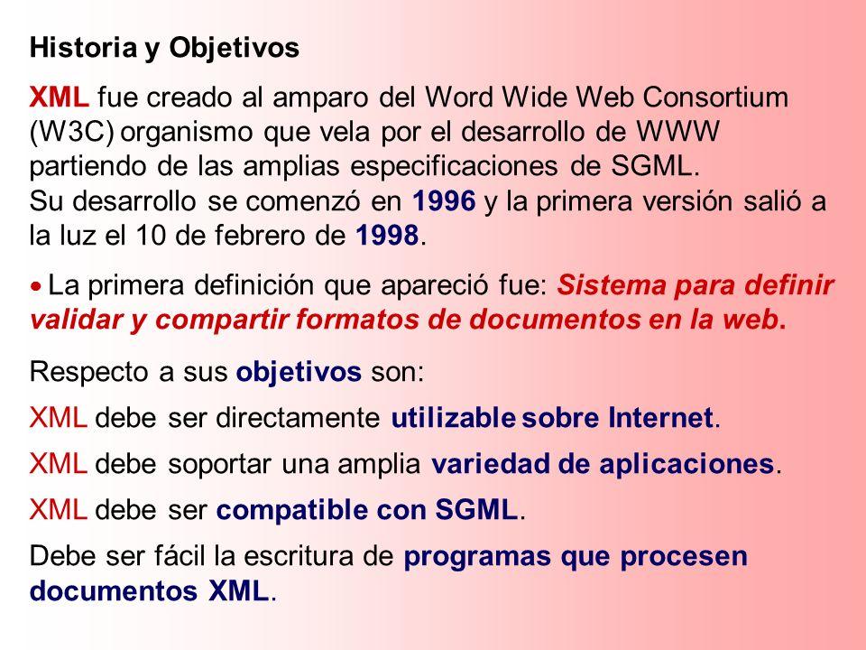 Historia y Objetivos XML fue creado al amparo del Word Wide Web Consortium (W3C) organismo que vela por el desarrollo de WWW partiendo de las amplias