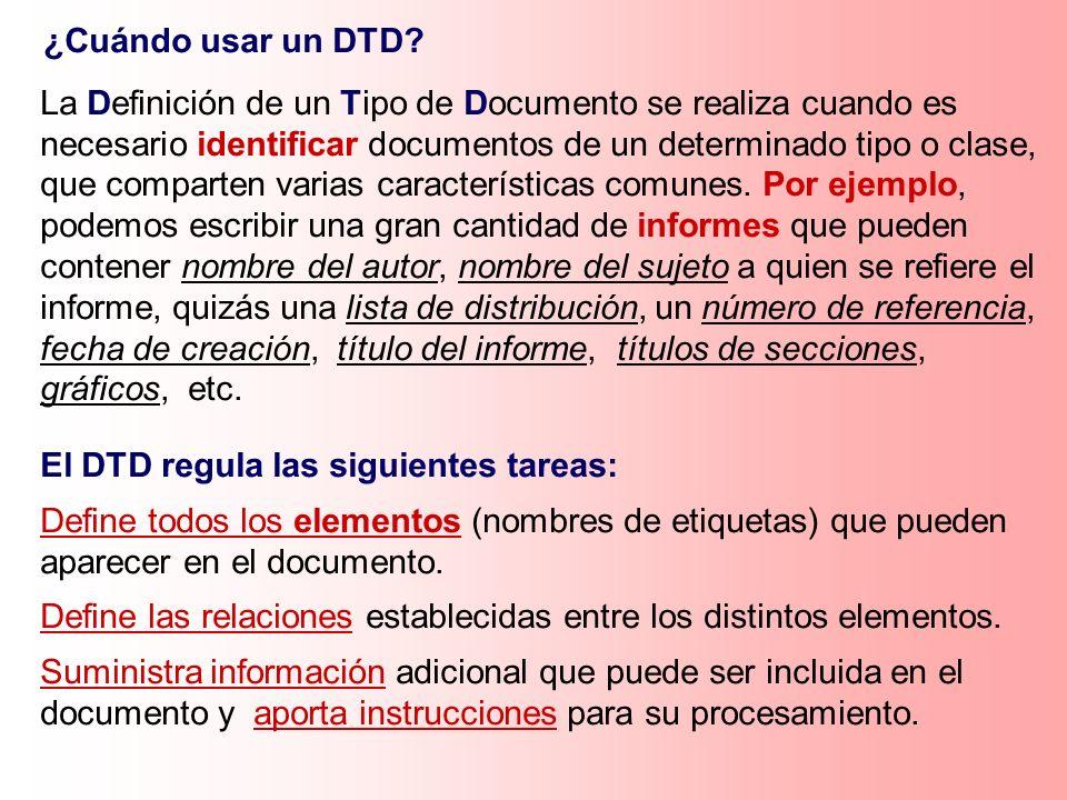 ¿Cuándo usar un DTD? La Definición de un Tipo de Documento se realiza cuando es necesario identificar documentos de un determinado tipo o clase, que c