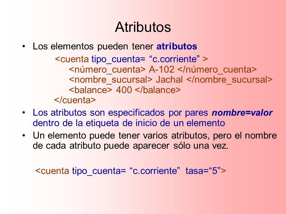 Atributos Los elementos pueden tener atributos A-102 Jachal 400 Los atributos son especificados por pares nombre=valor dentro de la etiqueta de inicio