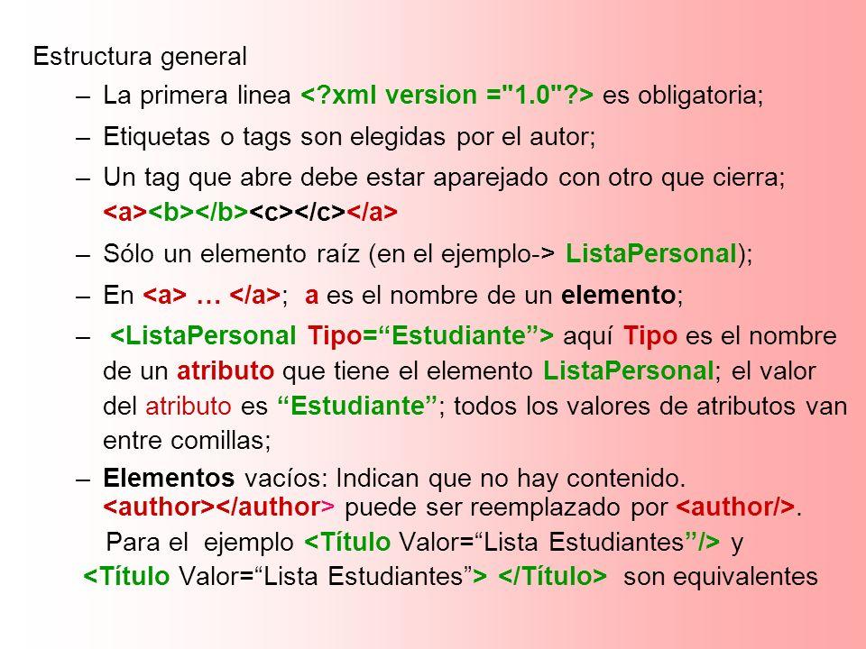 Estructura general –La primera linea es obligatoria; –Etiquetas o tags son elegidas por el autor; –Un tag que abre debe estar aparejado con otro que c