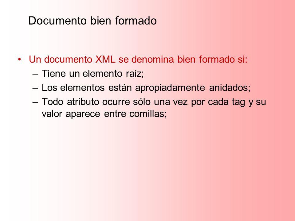 Documento bien formado Un documento XML se denomina bien formado si: –Tiene un elemento raiz; –Los elementos están apropiadamente anidados; –Todo atri