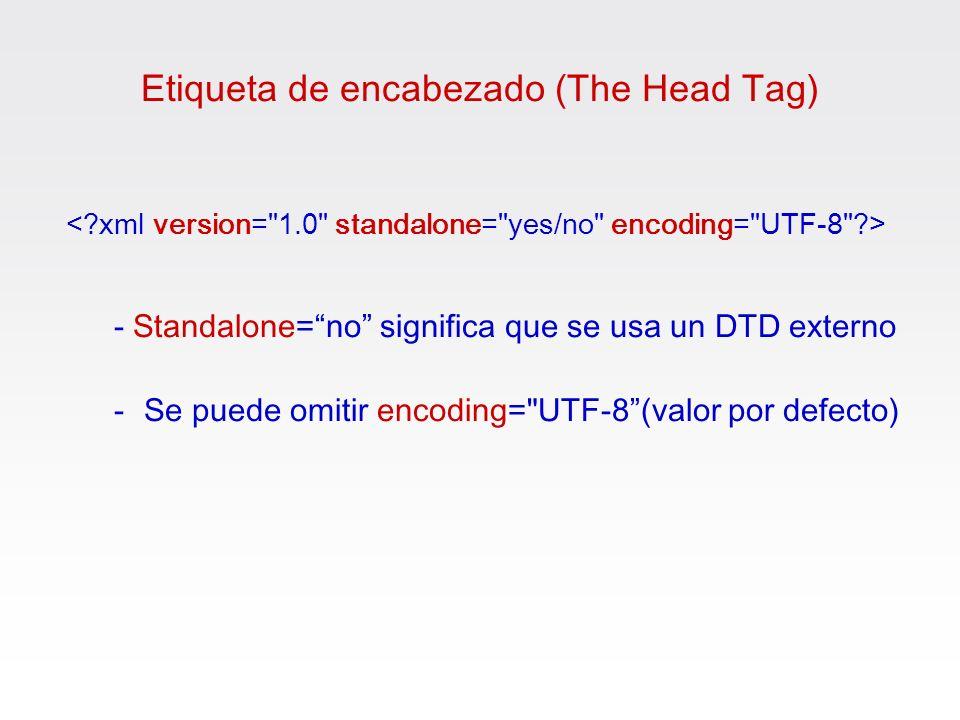 Etiqueta de encabezado (The Head Tag) - Standalone= no significa que se usa un DTD externo -Se puede omitir encoding=