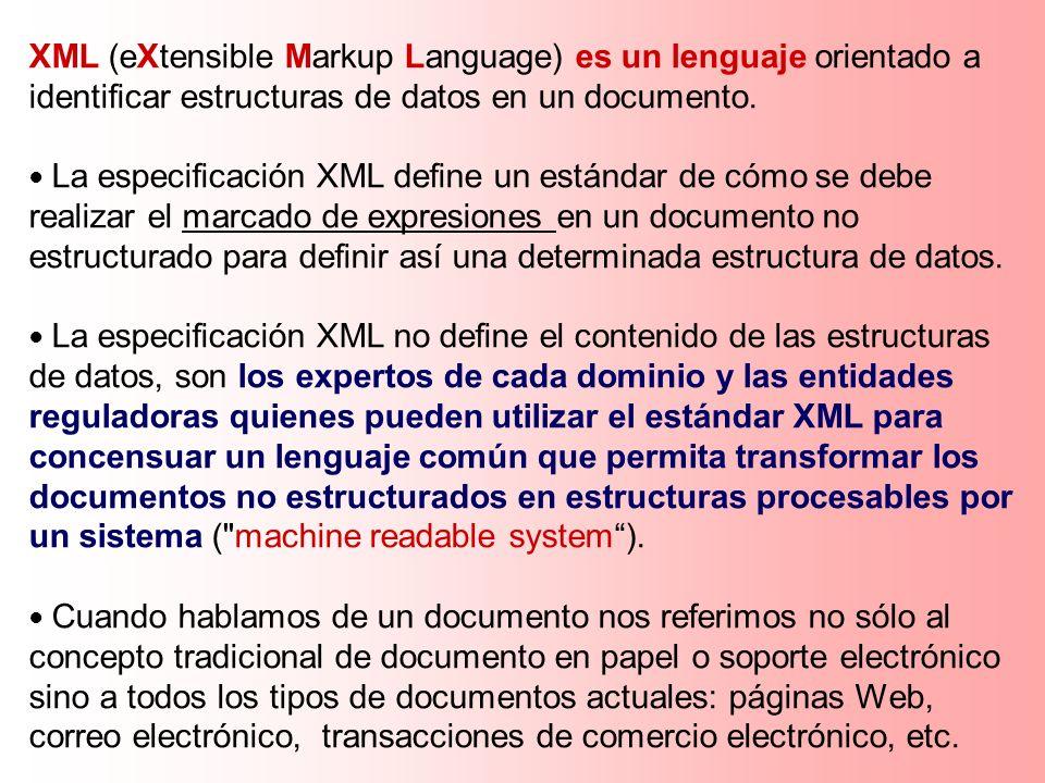 XML (eXtensible Markup Language) es un lenguaje orientado a identificar estructuras de datos en un documento. La especificación XML define un estándar