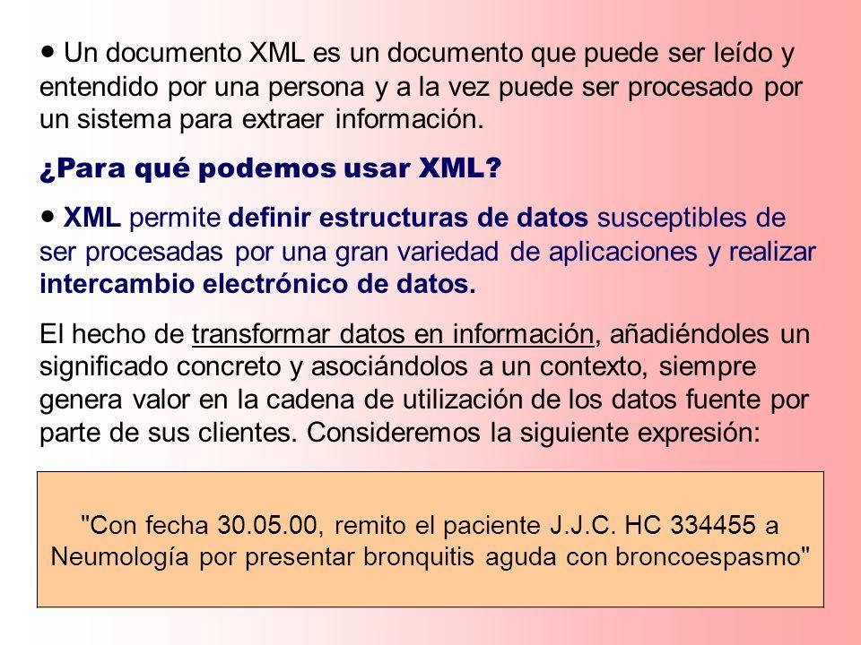 Un valor es una secuencia ordenada de cero o más items; Un item es un nodo o valor atómico; Existen cuatro tipos de nodos: Nodo documento Nodo elemento Nodo atributo Nodo texto Los hijos son nodos elemento o texto (los atributos no son hijos) Ejemplos de Valores 47 (1, 2, 3) (47,, Hello ) () Un documento XML Un atributo aislado No hay distinción entre un item y una secuencia de longitud uno; No hay secuencias anidadas; No existen los valores nulos; Una secuencia puede ser vacía; Las secuencias pueden tener valores heterogéneos; Las secuencias tienen orden;