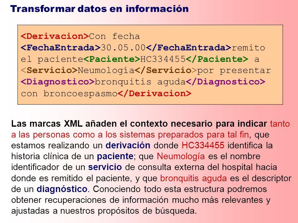 Transformar datos en información Con fecha 30.05.00 remito el paciente HC334455 a Neumología por presentar bronquitis aguda con broncoespasmo Las marc