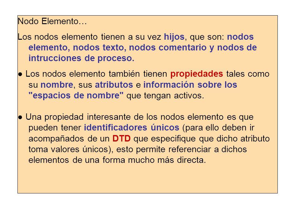 Nodo Elemento… Los nodos elemento tienen a su vez hijos, que son: nodos elemento, nodos texto, nodos comentario y nodos de intrucciones de proceso. Lo