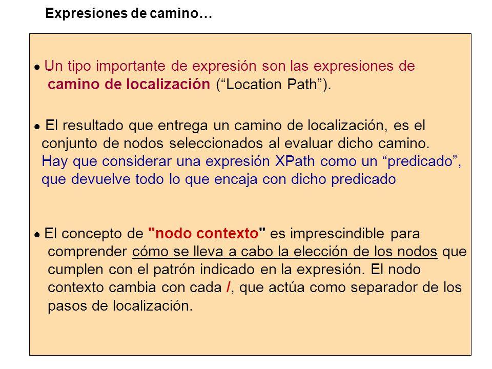 Un tipo importante de expresión son las expresiones de camino de localización (Location Path). El resultado que entrega un camino de localización, es