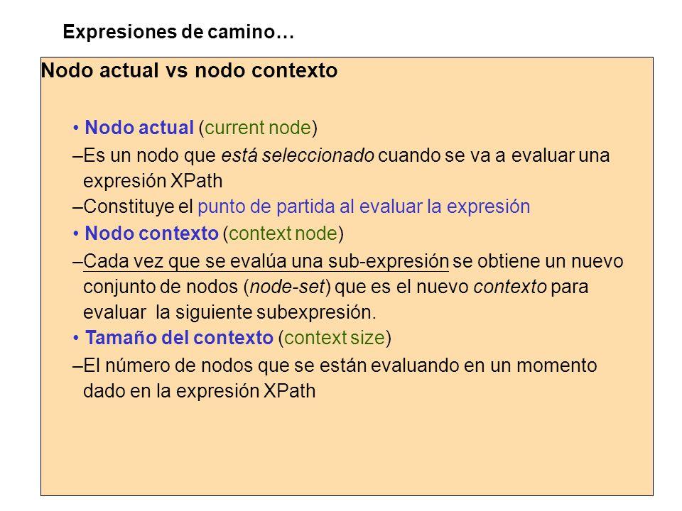 Nodo actual vs nodo contexto Expresiones de camino… Nodo actual (current node) –Es un nodo que está seleccionado cuando se va a evaluar una expresión