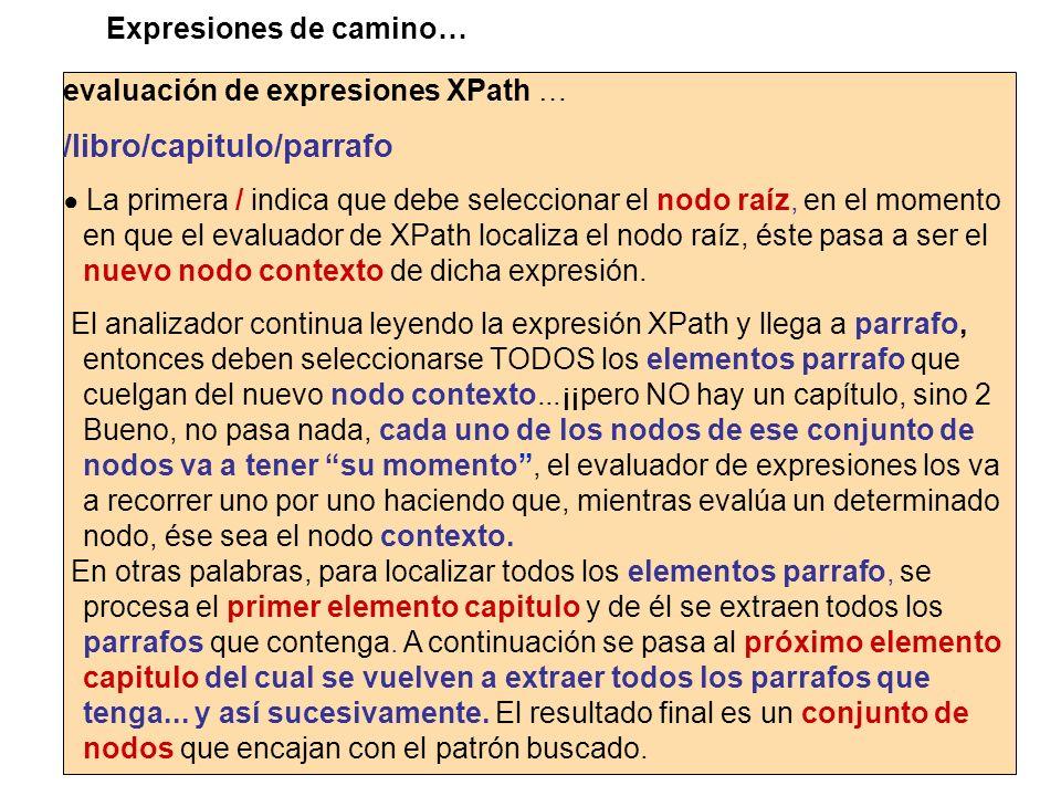 evaluación de expresiones XPath … /libro/capitulo/parrafo La primera / indica que debe seleccionar el nodo raíz, en el momento en que el evaluador de