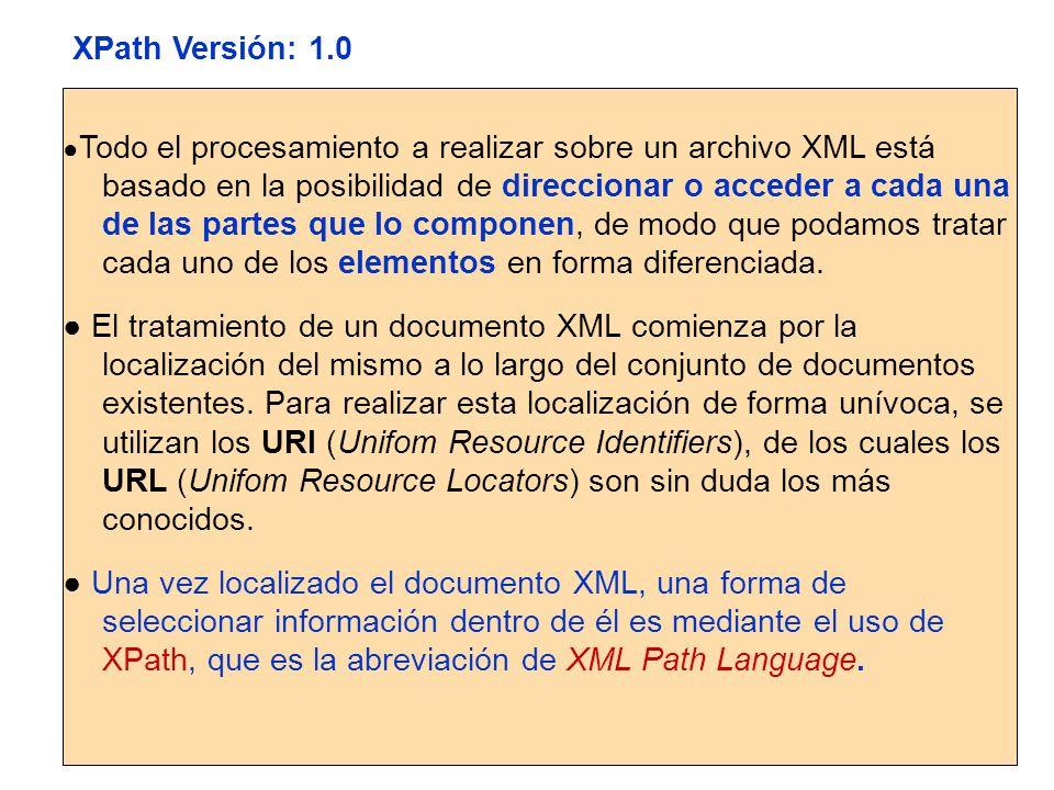 El modelo de datos de XPath Árbol de Nodos XPath opera sobre un documento XML considerándolo como un árbol.
