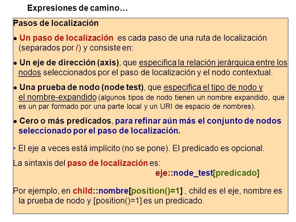 Pasos de localización Un paso de localización es cada paso de una ruta de localización (separados por /) y consiste en: Un eje de dirección (axis), qu