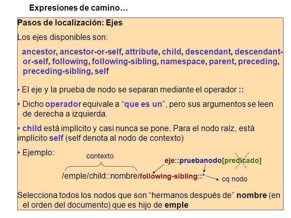 Expresiones de camino… Pasos de localización: Ejes Los ejes disponibles son: ancestor, ancestor-or-self, attribute, child, descendant, descendant- or-