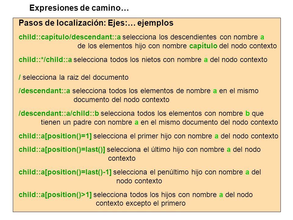 Pasos de localización: Ejes:… ejemplos child::capítulo/descendant::a selecciona los descendientes con nombre a de los elementos hijo con nombre capítu