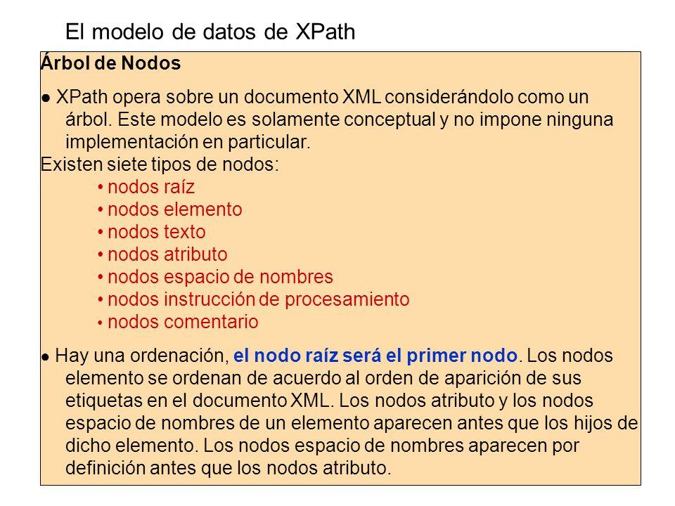 El modelo de datos de XPath Árbol de Nodos XPath opera sobre un documento XML considerándolo como un árbol. Este modelo es solamente conceptual y no i
