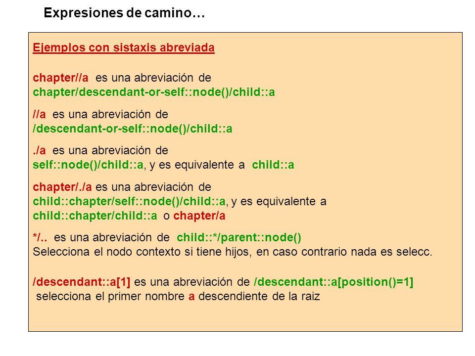 Ejemplos con sistaxis abreviada chapter//a es una abreviación de chapter/descendant-or-self::node()/child::a //a es una abreviación de /descendant-or-