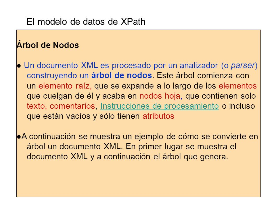 El modelo de datos de XPath Árbol de Nodos Un documento XML es procesado por un analizador (o parser) construyendo un árbol de nodos. Este árbol comie